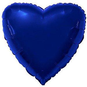 Balão Metalizado Coração Liso 20'' 50cm - Azul Marinho - Flexmetal - Rizzo Embalagens e FCoras