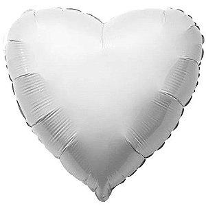 Balão Metalizado Coração Liso 20'' 50cm - Branco - Flexmetal - Rizzo Embalagens e FCoras