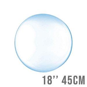 Balão Bubble Clear Azul 18'' 45cm - Cromus - Rizzo Embalagens e Festas