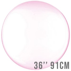 Balão Bubble Clear Rosa 36'' 91cm - Cromus - Rizzo Embalagens e Festas