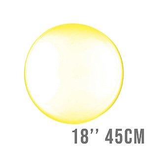 Balão Bubble Clear Amarelo 18'' 45cm - Cromus - Rizzo Embalagens e Festas
