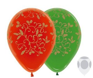 Balão de Festa Latex R12'' 30cm - Cristal Filigree Composê - 50 unidades - Sempertex Cromus Natal - Rizzo Festas