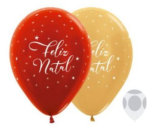 Balão de Festa Latex R12'' 30cm - Metal Feliz Natal Composê - 50 unidades - Sempertex Cromus Natal - Rizzo Festas
