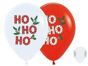 Balão de Festa Latex R12'' 30cm - Fashion HOHOHO Composê - 50 unidades - Sempertex Cromus Natal - Rizzo Festas