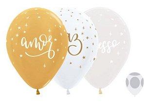 Balão de Festa Latex R12'' 30cm - Satin Metal e Cristal Felicitações Dourado - 50 unidades - Sempertex Cromus Natal - Rizzo Festas