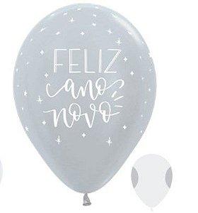 Balão de Festa Latex R12'' 30cm - Satin Feliz Ano Novo Prata - 50 unidades - Sempertex Cromus Natal - Rizzo Festas