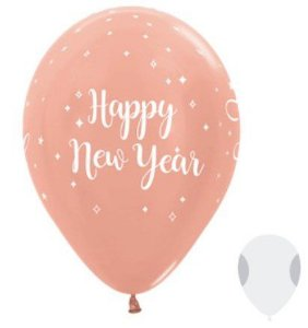 Balão de Festa Latex R12'' 30cm - Metal Happy New Year Rose Gold - 50 unidades - Sempertex Cromus Natal - Rizzo Festas