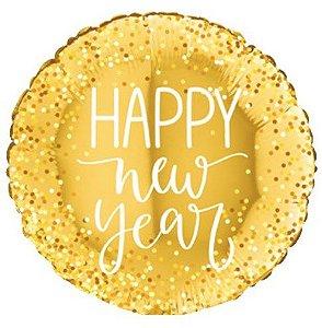 Balão Metalizado Redondo Happy New Year Dourado - 18'' - Sempertex Cromus - Rizzo Festas