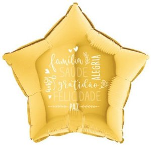 Balão Metalizado Estrela Felicitações Dourado - 18'' - Sempertex Cromus - Rizzo Festas