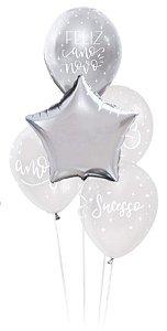 Kit Bouquet de Balões Feliz Ano Novo - Sempertex Cromus - Rizzo Festas