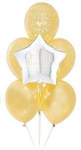 Kit Bouquet de Balões Muito Ouro para Você - Sempertex Cromus - Rizzo Festas