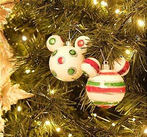 Bola Mickey Listras Poá Branco Verde e Vermelho 8cm - 02 unidades - Natal Disney - Cromus - Rizzo Embalagens