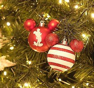 Bola Mickey Listras Branco e Vermelho 6cm - 06 unidades - Natal Disney - Cromus - Rizzo Embalagens