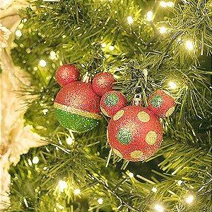 Bola Mickey Listras Poá Verde Vermelho e Ouro 8cm - 04 unidades - Natal Disney - Cromus - Rizzo Embalagens