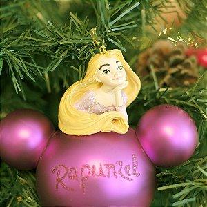 Bola de Vidro 3D Princesa Rapunzel 8cm - 02 unidades - Natal Disney - Cromus - Rizzo Embalagens