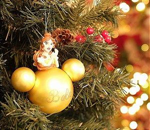 Bola de Vidro 3D Princesa Bela 8cm - 02 unidades - Natal Disney - Cromus - Rizzo Embalagens