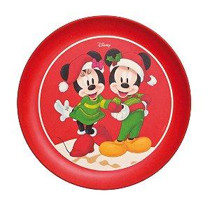 Prato Sobremesa Fibra de Bambu Mickey e Minnie Fun 20cm - 01 unidade - Natal Disney - Cromus - Rizzo Embalagens