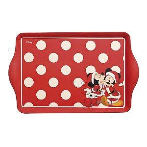 Bandeja Retangular Fibra de Bambu Mickey e Minnie Poá Fun 35cm - 01 unidade - Natal Disney - Cromus - Rizzo Embalagens