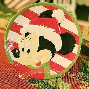 Prato de Cerâmica Minnie Listras 20cm - 01 unidade - Natal Disney - Cromus - Rizzo Embalagens