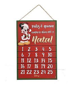 Quadro de Madeira Mickey Calandário 40cm - 01 unidade - Natal Disney - Cromus - Rizzo Embalagens