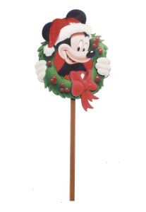 Pick Médio de Madeira Mickey Guirlanda para Jardim 40cm - 01 unidade - Natal Disney - Cromus - Rizzo Embalagens