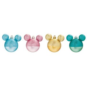 Kit Bola Mickey Glitter 8cm - 04 unidades - Natal Disney - Cromus - Rizzo Embalagens