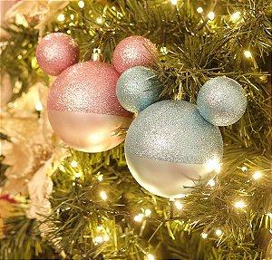 Kit Bola Mickey Azul e Rosa Glitter 10cm - 02 unidades - Natal Disney - Cromus - Rizzo Embalagens