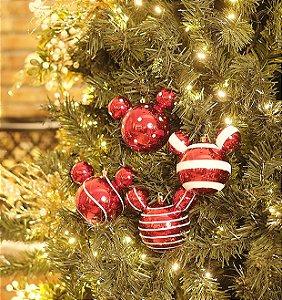 Kit Bola Mickey Listras e Poá Sortidas Vermelho 6cm - 06 unidades - Natal Disney - Cromus - Rizzo Embalagens