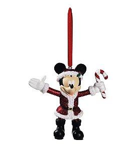 Enfeite para Pendurar Mickey com CandyCane 10cm - 01 unidade - Natal Disney - Cromus - Rizzo Embalagens