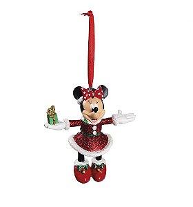 Enfeite para Pendurar Minnie com Presente 10cm - 01 unidade - Natal Disney - Cromus - Rizzo Embalagens