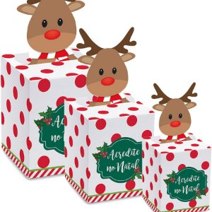 Caixa Panetone Pop Up Rena - 10 unidades - Cromus Natal - Rizzo Embalagens