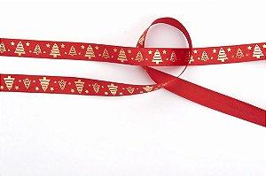 Fita de Natal em Cetim Vermelha Arvore de Natal Dourada - 15mm x 10m - Progresso - Rizzo Embalagens e Festas