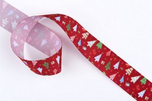 Fita de Natal em Cetim Vermelha Arvores de Natal Coloridas - 38mm x 10m - Progresso - Rizzo Embalagens e Festas