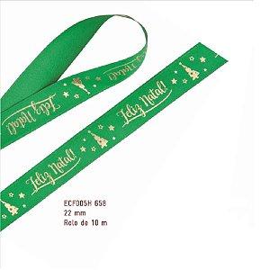 Fita de Natal em Cetim Verde Feliz Natal com Arvore Ouro - 22mm x 10m - Progresso - Rizzo Embalagens e Festas