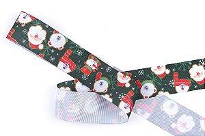 Fita de Natal em Cetim Verde Papai Noel, Urso, Boneco de Neve - 38mm x 10m - Progresso - Rizzo Embalagens e Festas