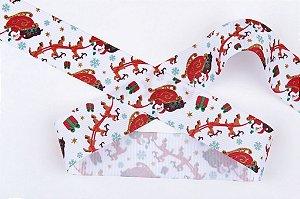 Fita de Natal em Cetim Branca Trenó de Natal - 38mm x 10m - Progresso - Rizzo Embalagens e Festas