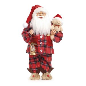Noel com Pijama Xadrez Segurando Urso 45cm - 01 unidade - Cromus Natal - Rizzo Embalagens