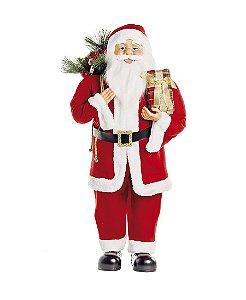 Noel em pé Seurando Presente 90cm - 01 unidade - Cromus Natal - Rizzo Embalagens