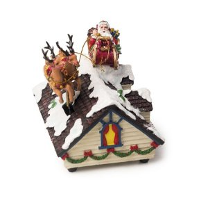 Bibelô Musical a Corda Casa Nevada com Noel no Trenó 15cm - 01 unidade - Cromus Natal - Rizzo Embalagens