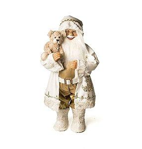 Noel Roupa Branca Segurando Urso 62cm - 01 unidade - Cromus Natal - Rizzo Embalagens