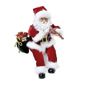 Noel Sentado Violino com Som Luz e Movimento 30cm - 01 unidade - Cromus Natal - Rizzo Embalagens
