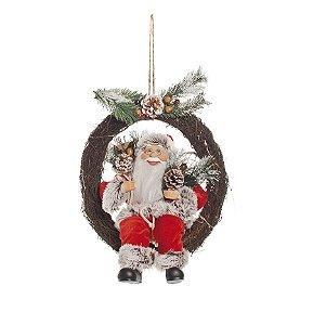 Guirlanda Papai Noel Sentado com Luz 50cm - 01 unidade - Cromus Natal - Rizzo Embalagens