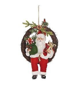 Guirlanda Papai Noel Sentado Presentes com Luz 50cm - 01 unidade - Cromus Natal - Rizzo Embalagens