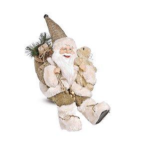 Noel Rústico Sentado Segurando Urso Bege 40cm - 01 unidade - Cromus Natal - Rizzo Embalagens