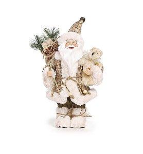 Noel Rústico em Pé Segurando Urso Bege 35cm - 01 unidade - Cromus Natal - Rizzo Embalagens