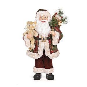 Noel Xadrez em Pé Segurando Urso 60cm - 01 unidade - Cromus Natal - Rizzo Embalagens