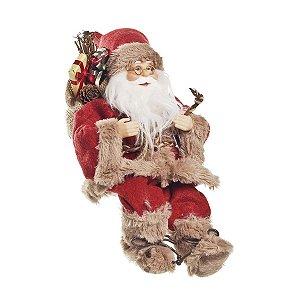 Noel Sentado com Casaco Vermelho e Bege 25cm - 01 unidade - Cromus Natal - Rizzo Embalagens