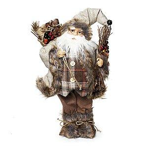 Noel em Pé Xadrez Marrom Segurando Saco de Presente 46cm - 01 unidade - Cromus Natal - Rizzo Embalagens