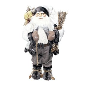 Noel em Pé Cinza Segurando Saco de Presente 63cm - 01 unidade - Cromus Natal - Rizzo Embalagens