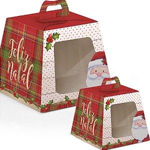Caixa Panetone com visor Noel - 10 unidades - Cromus Natal - Rizzo Embalagens e Festas
